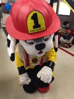 A person in a firefighting dalmatian costume.