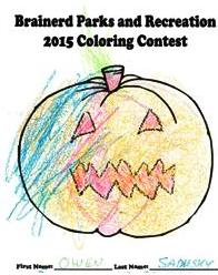 A colored-in picture of a cartoon pumpkin.
